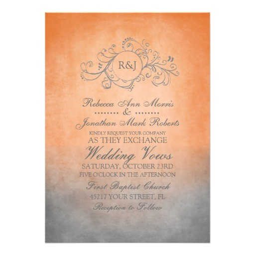 Orange and Gray Wedding Invitations Rustic orange and Grey Bohemian Wedding Invitation