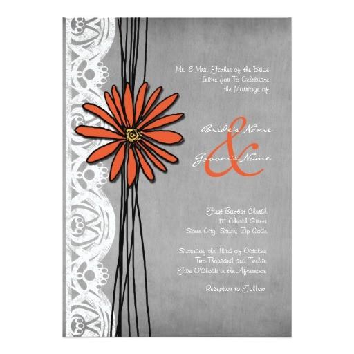 vintage orange and grey daisy wedding invitation 161879872646965603