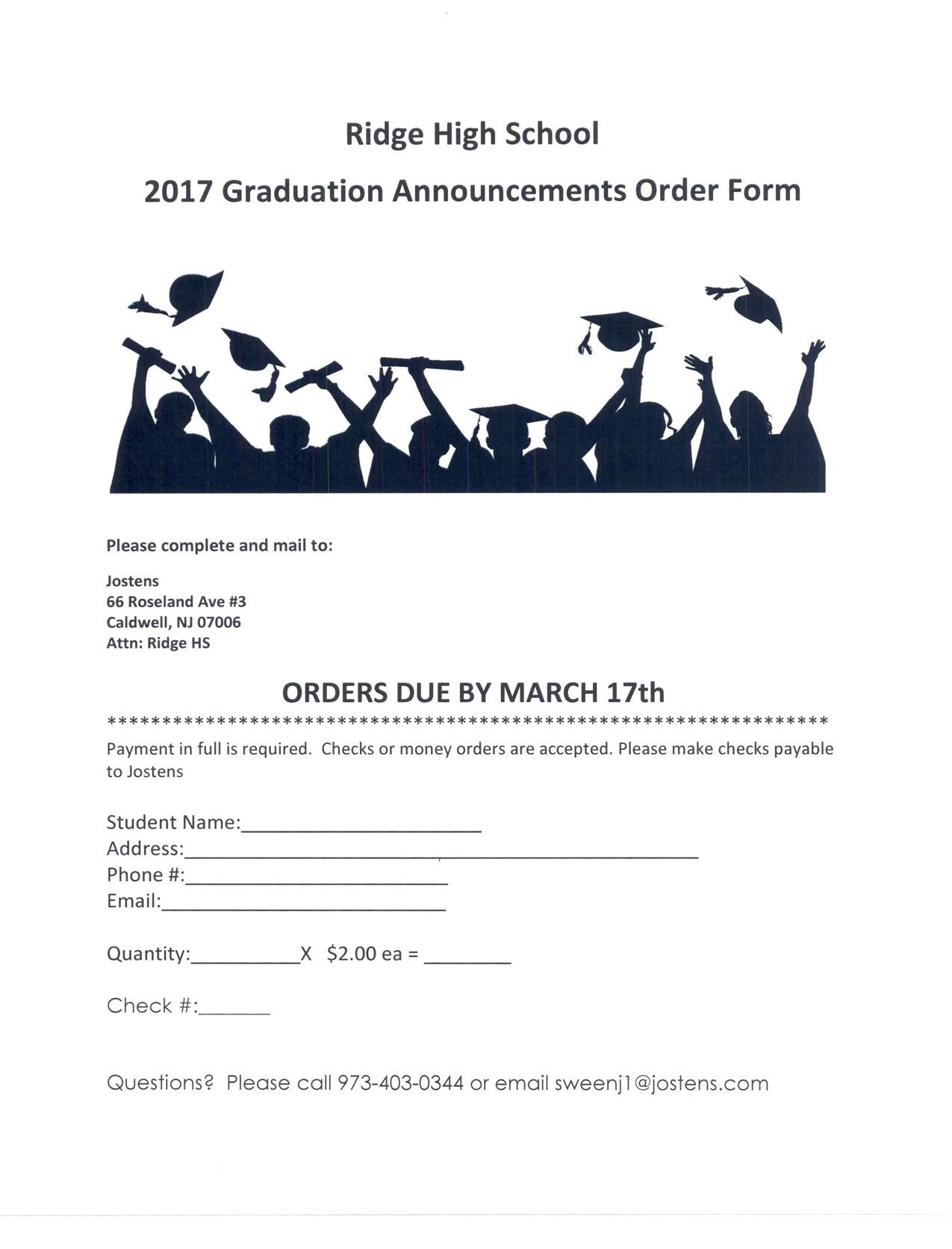 2017 graduation announcements order form 2 pdf 2