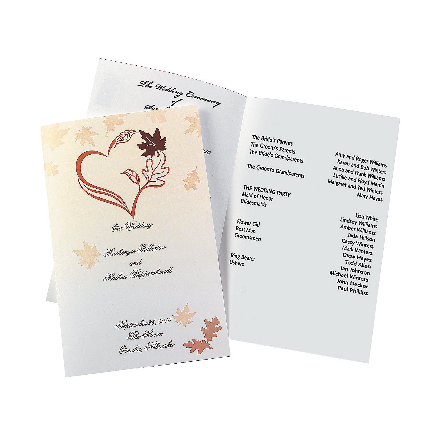 fall wedding programs a2 47 705 fltr