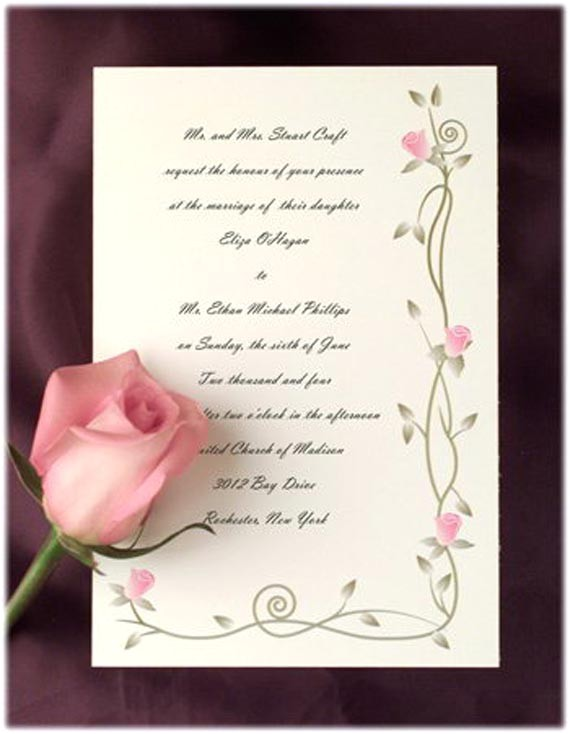 blooming flower theme for outdoor wedding invitations