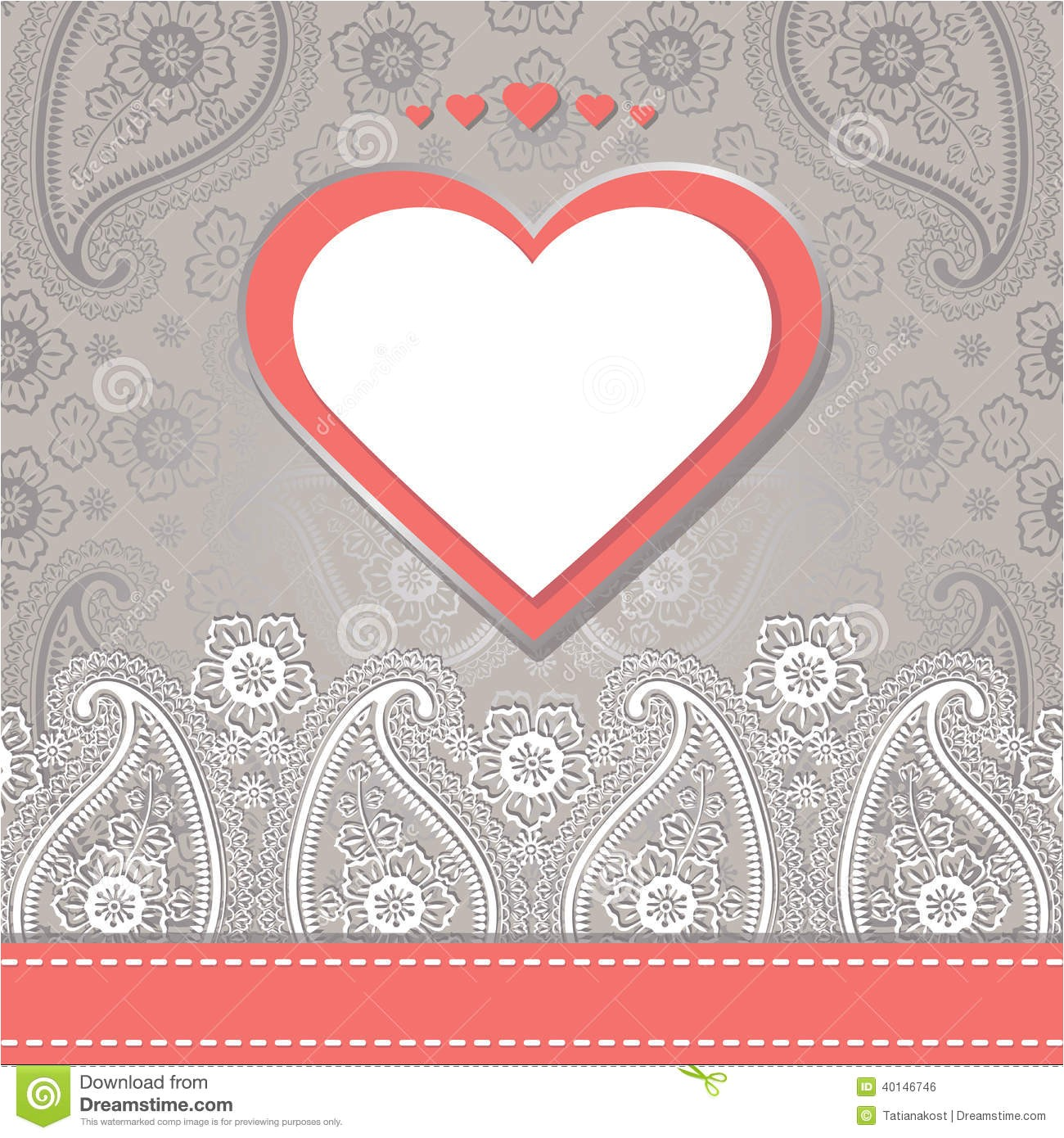 royalty free stock image cute design template paisley border lace hearts wedding invitation imitation motive label ribbon turkish cucumbers image40146746