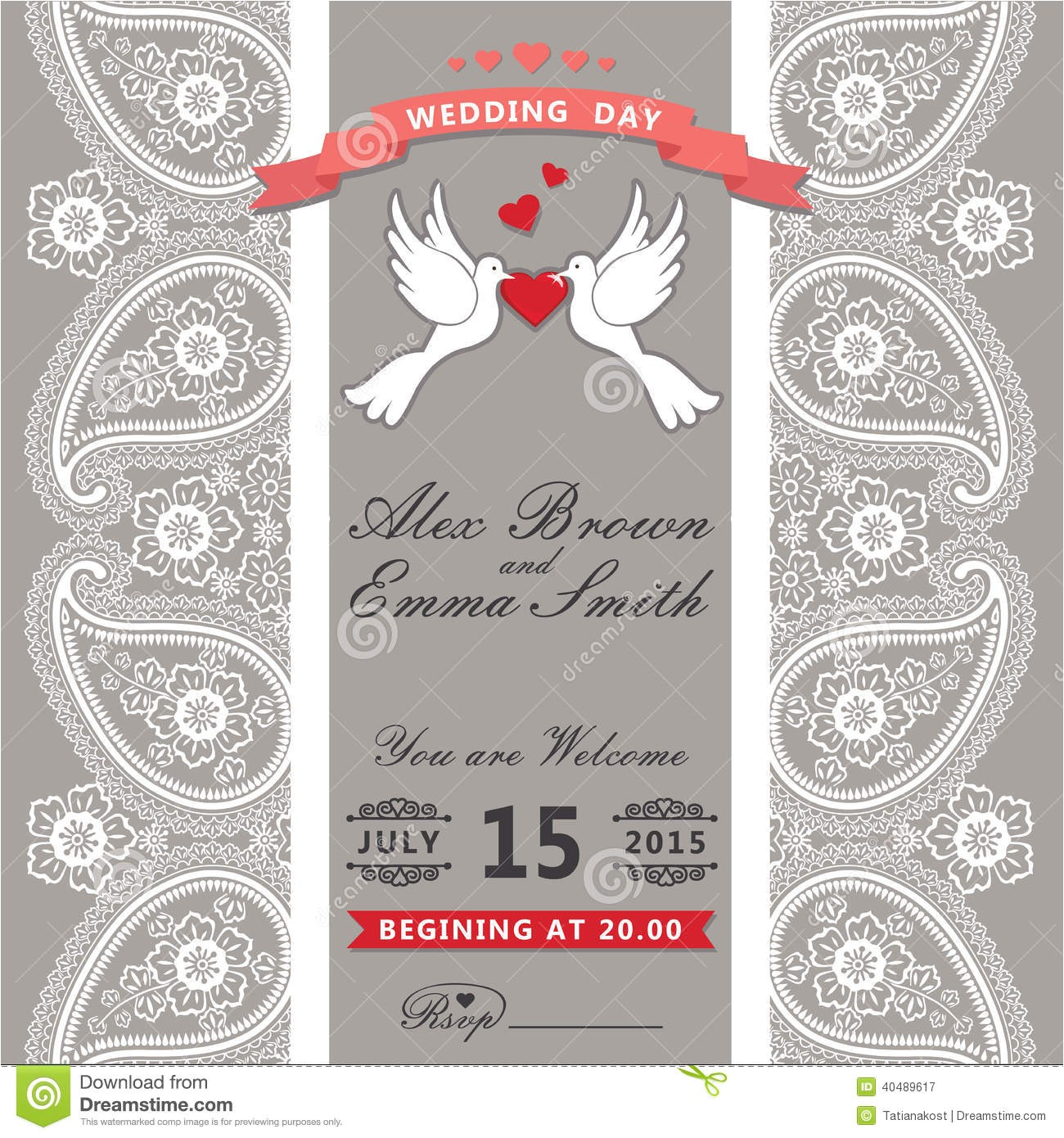 royalty free stock photography cute wedding invitation paisley border lace cartoon pigeons vint design template motive hearts ribbon turkish cucumbers image40489617