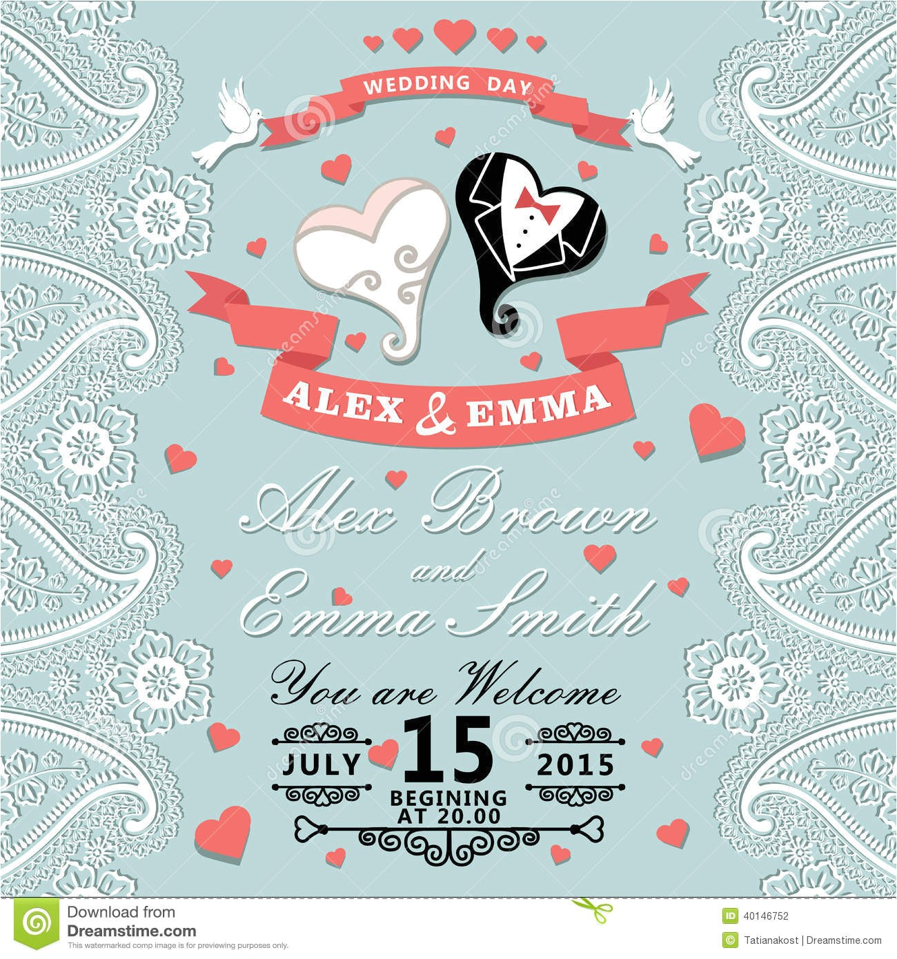 stock photography vintage wedding invitation paisley border cartoon wedding h hearts retro style vignettes ribbon pigeons imitation lace image40146752