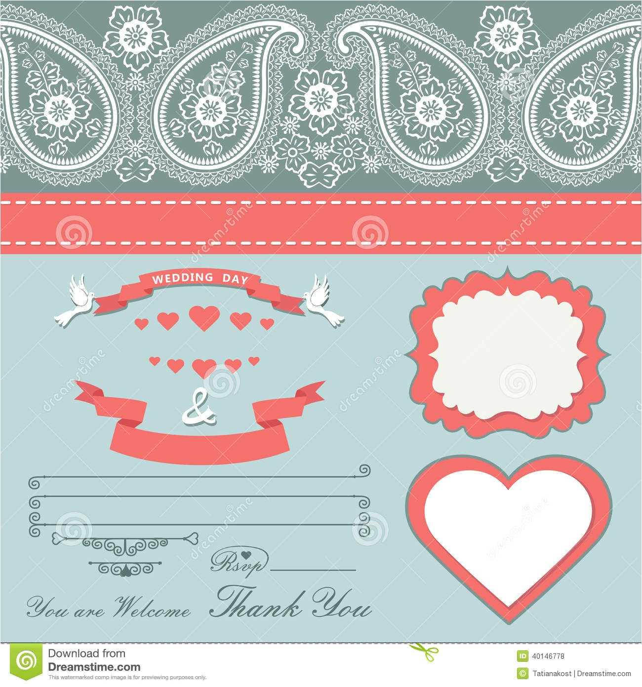 royalty free stock photos wedding design template paisley border cartoon hearts templat set retro style vignettes ribbon pigeons imitation lace image40146778