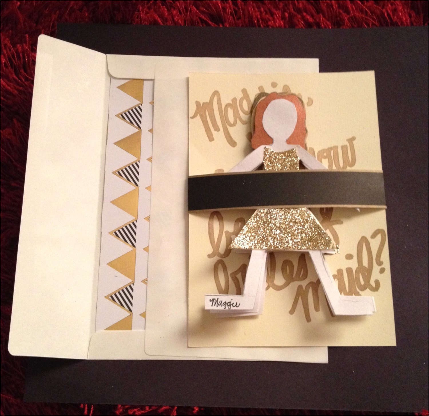 paper doll bridesmaid invitation 3