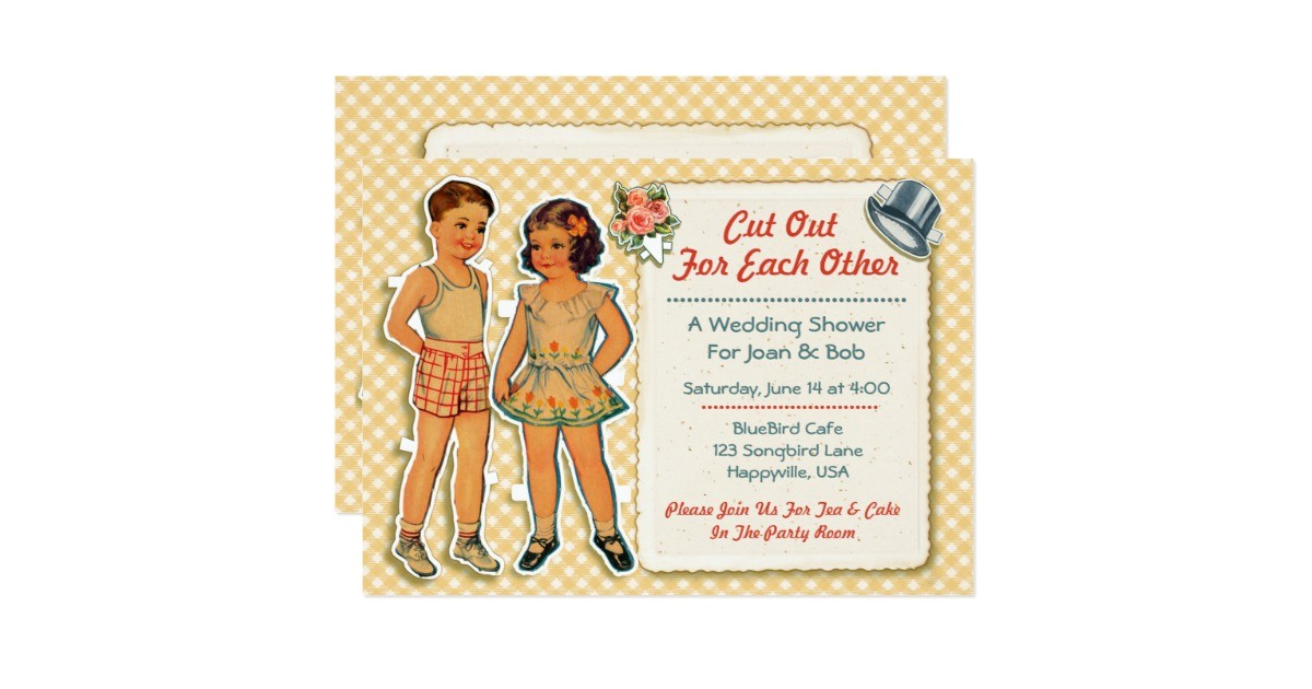 vintage paper dolls wedding shower invites 2 yell invitation 161662490829242231