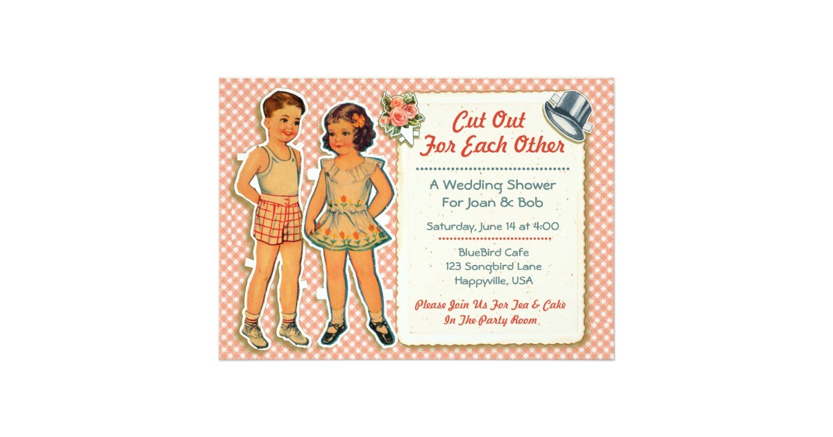 vintage paper dolls wedding shower invites 2 pink 161027035173730515