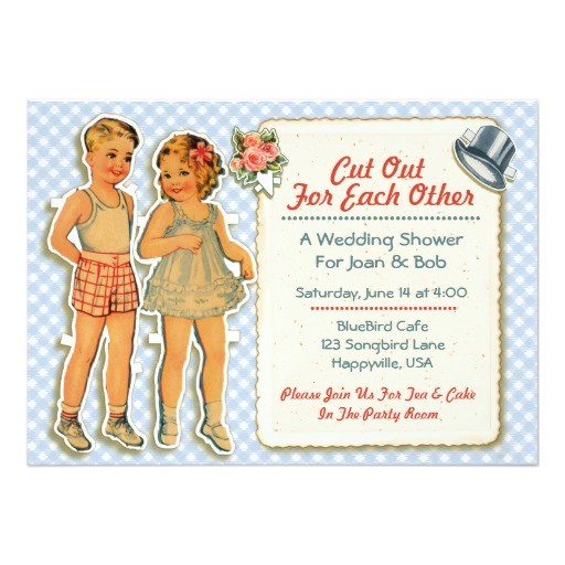 vintage paper dolls wedding shower invites blue 161547942435218077