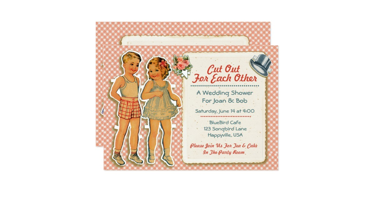vintage paper dolls wedding shower invites pink 161725965191201218