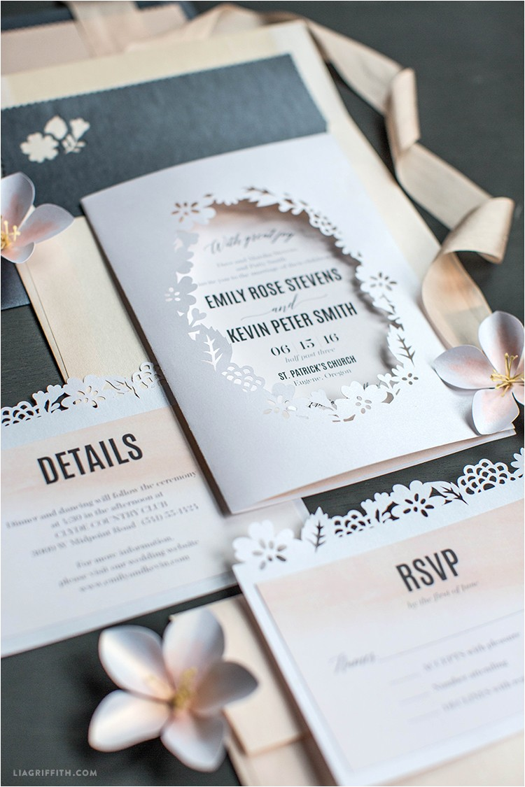 blush painted papercut wedding invitations