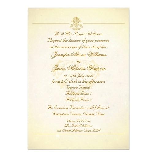 wedding invitation vintage parchment paper style 161551122870150762