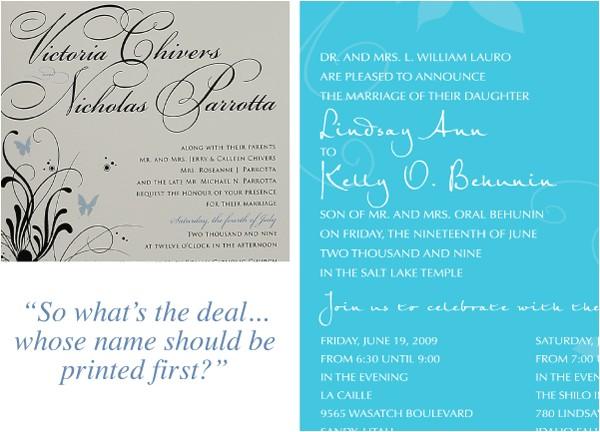 wedding invitation etiquette names of