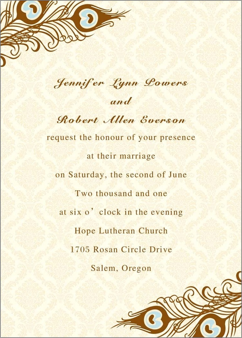 example of wedding invitation parts