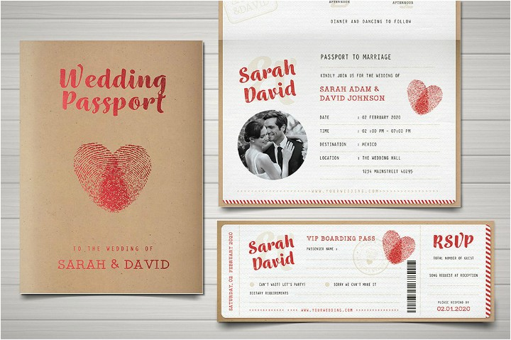 Passport Wedding Invitation Template 29 Vintage Wedding Templates Editable Psd Ai format