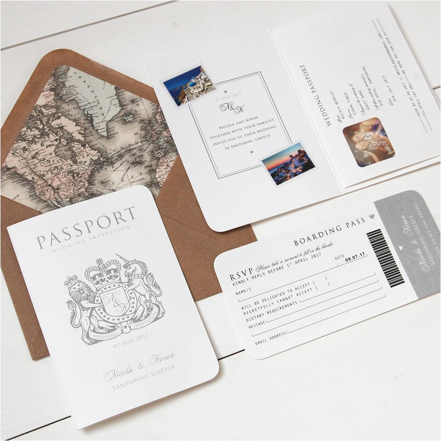 around the world passport booklet wedding invitation