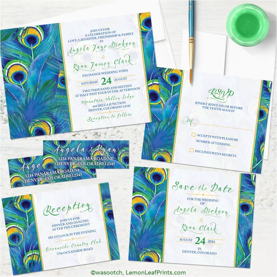 peacock wedding invitation sets