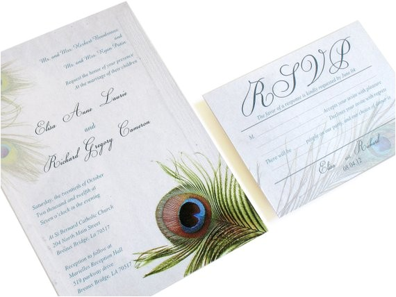peacock wedding invitation set peacock