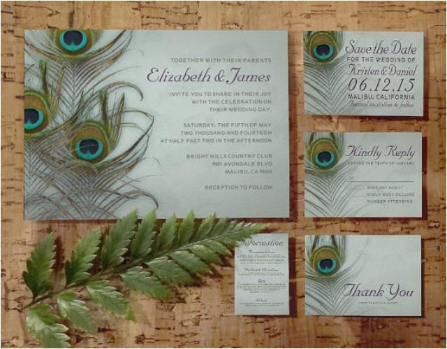 vintage peacock feather wedding invitation setsuite invites save the date rsvp thank you cards response card printablepdfprinted