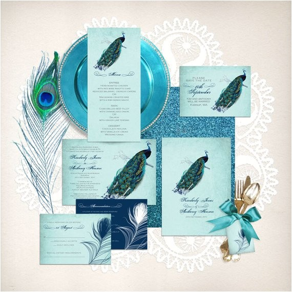 vintage peacock wedding stationery set