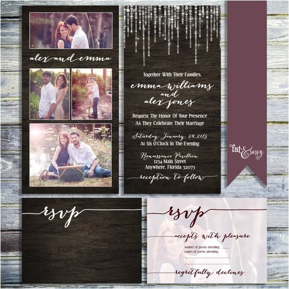 photo collage wedding invitation rustic