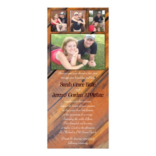 rustic wood photo collage wedding invitation 161735237714064480