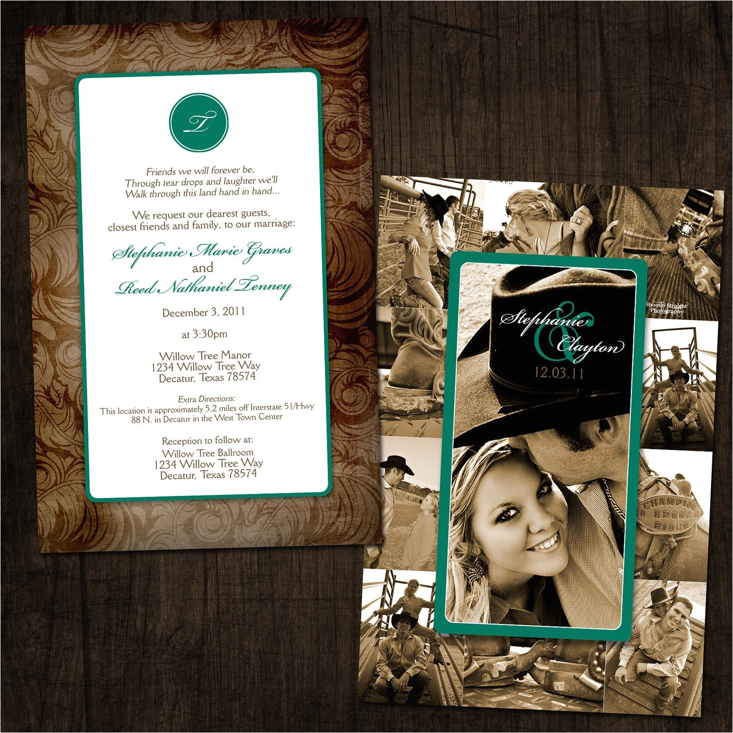 western chic collage wedding invitation