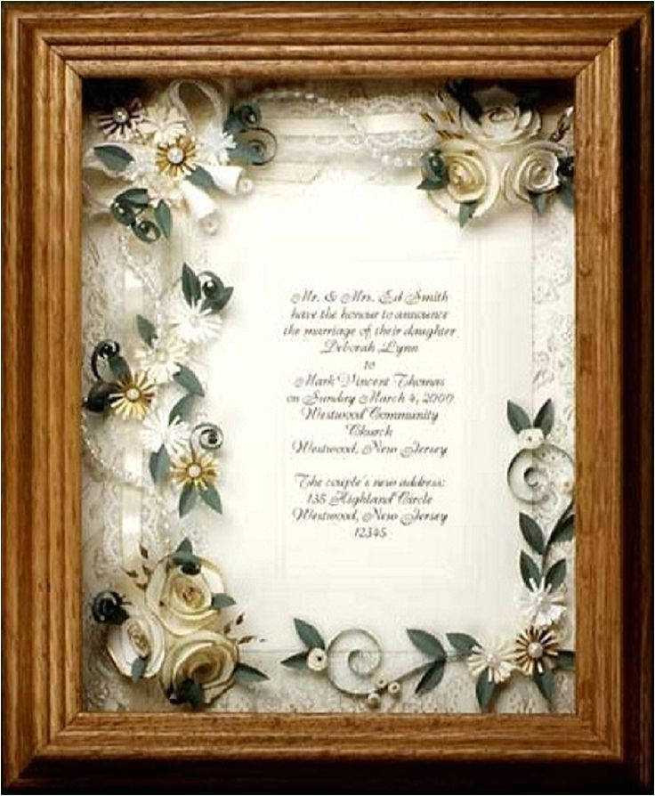 wedding invitations framed keepsake