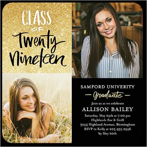 glistening grad graduation invitation 5x5 flat