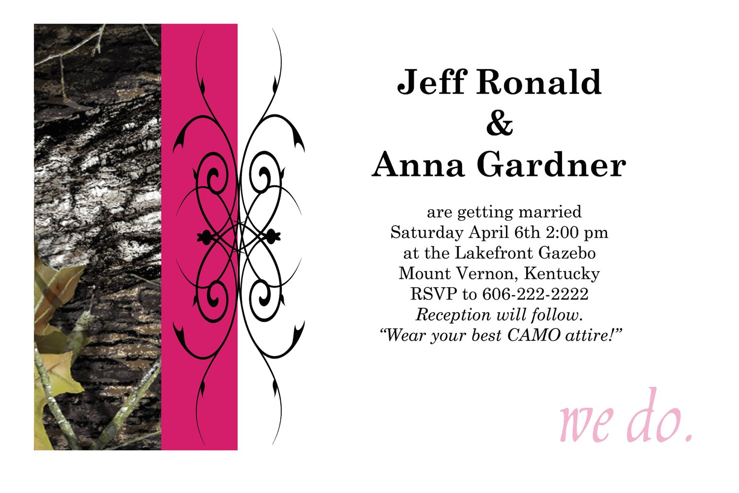 50 custom pink camo wedding invitations