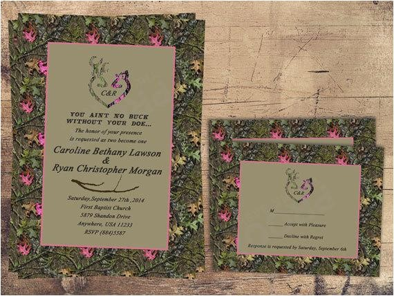 camo wedding invitation pink doe hunter