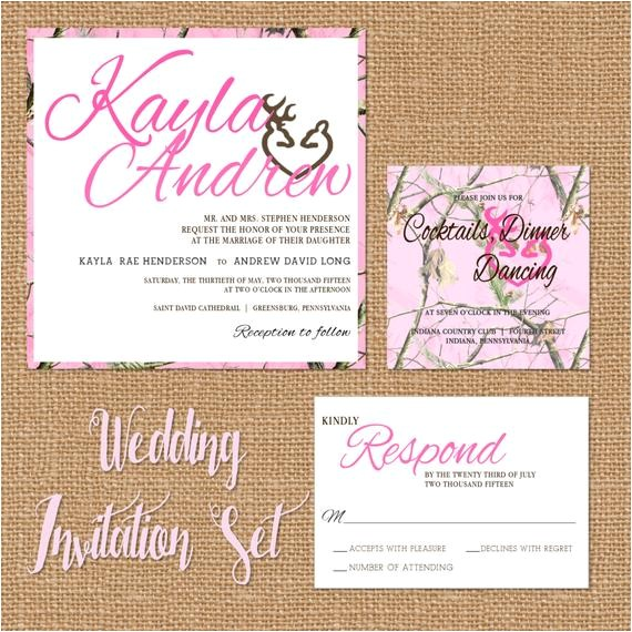 pink camo wedding invitation