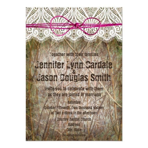 rustic country camo pink bow wedding invitations 161674985884141311