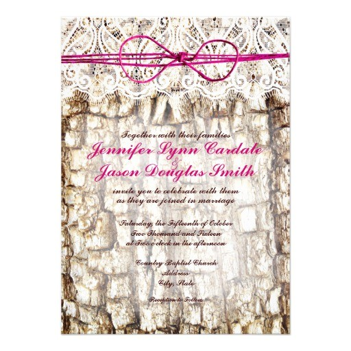 rustic country camo pink bow wedding invitations 161796890065074437
