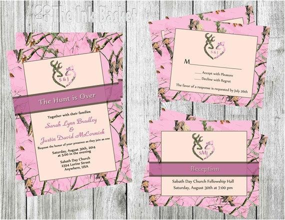 Pink Camouflage Wedding Invitations the Hunt is Over Wedding Invitation W Rsvp or by theinkbasket