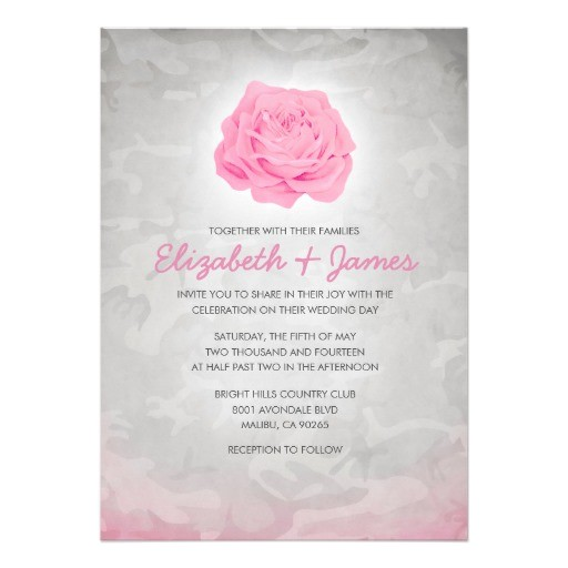 trendy pink camo wedding invitations 161470710514826226