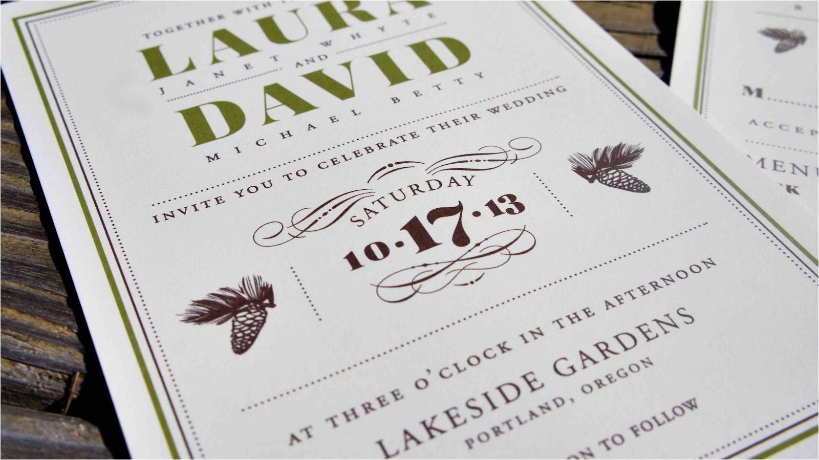 old school wedding invitation card template with plain white background color and black border color and brown font color