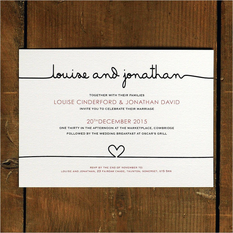simple and elegant wedding invitation card with plain white background color and black font color and rectangular shape