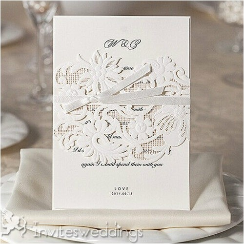 simple white laser cut ribbon wedding invitations iwsm009 p 599