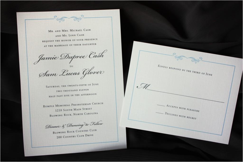 light blue and gray scroll border wedding invitations