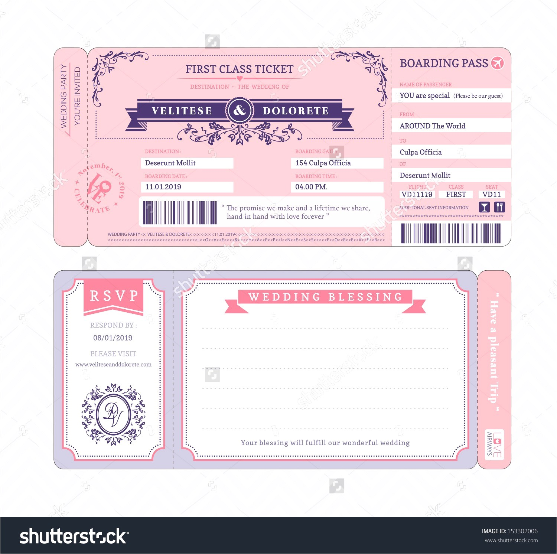 airline ticket invitation example