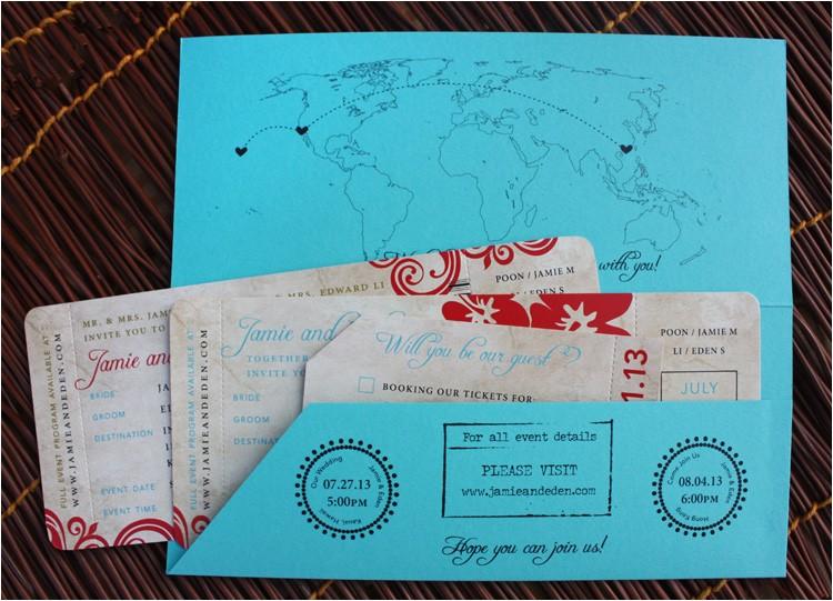 hawaii and hong kong antique boarding pass wedding invitations