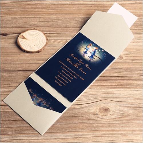 love birds in moonlight silver pocket wedding invitation kits ewpi039