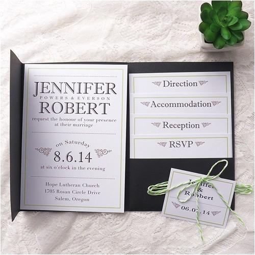 modern simple green wedding black pocket wedding invitation kits ewpi154