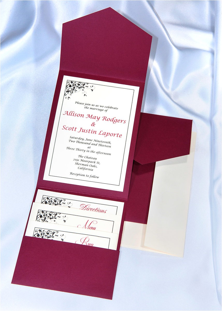 burgundy elegance pocket invitations