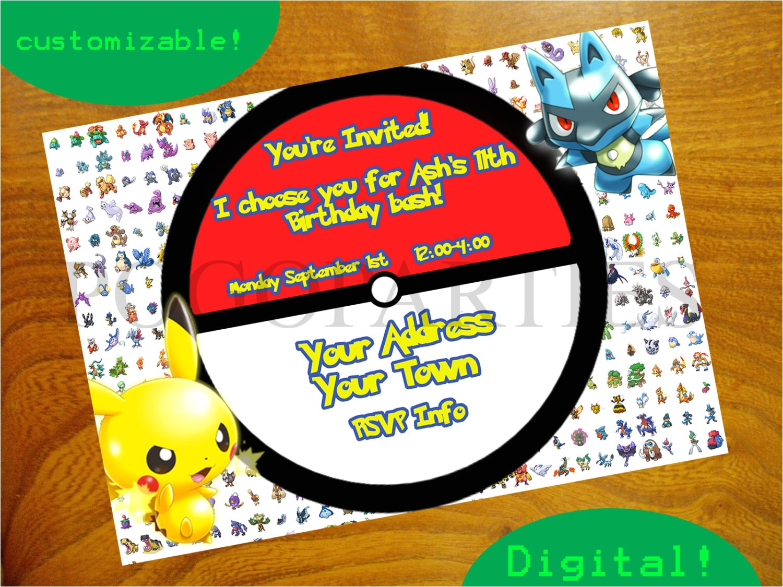 pokemon birthday party invitations templates
