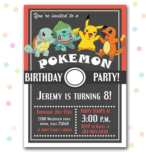 pokemon party invitations ideas