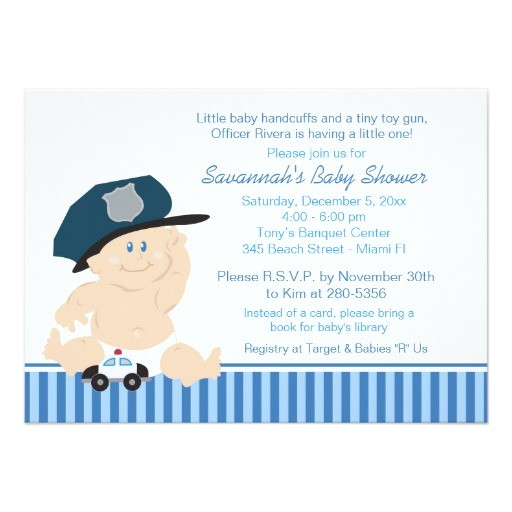 baby cop police officer baby shower invitation 161055853918394798