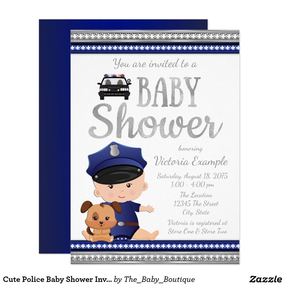 Police Baby Shower Invitations Cute Police Baby Shower Invitation Boy Baby Shower