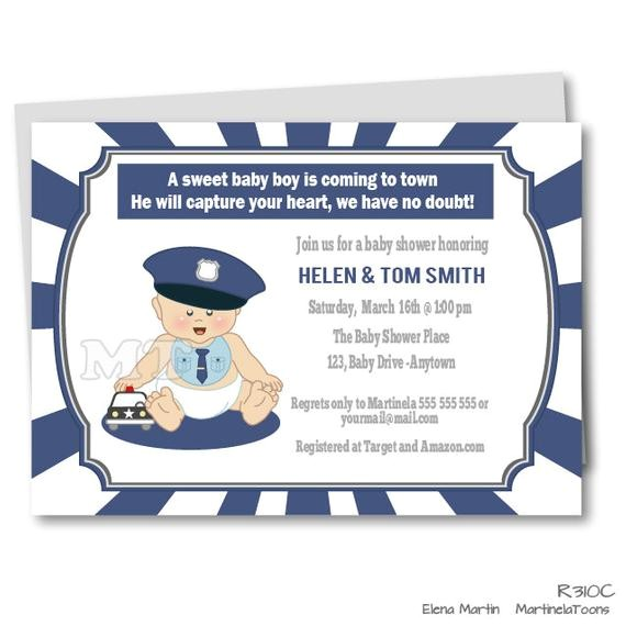 Police Baby Shower Invitations Diy Police Baby Shower Invitation Baby Police Outfit